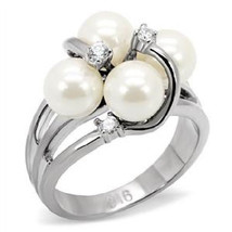 7 MM White Synthetic Cluster Pearl Stainless Steel Bridal  Ring Size, 6,... - $24.99