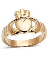 Stainless Steel  Rose Gold Irish Claddagh Ring Hands Heart & Crown Sz 5,... - $22.99