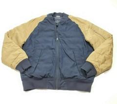 Nautica Men's Blue Tan Down Puffer Logo Zip Bomber Jacket Coat Medium  - $38.52