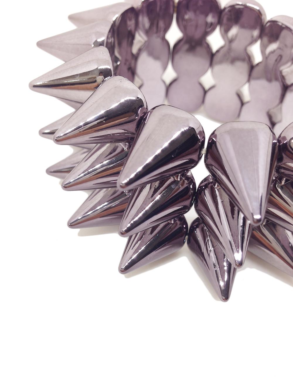 FREEBIE - Gunmetal Acrylic Stretch Bracelet with Spikes - $7 value