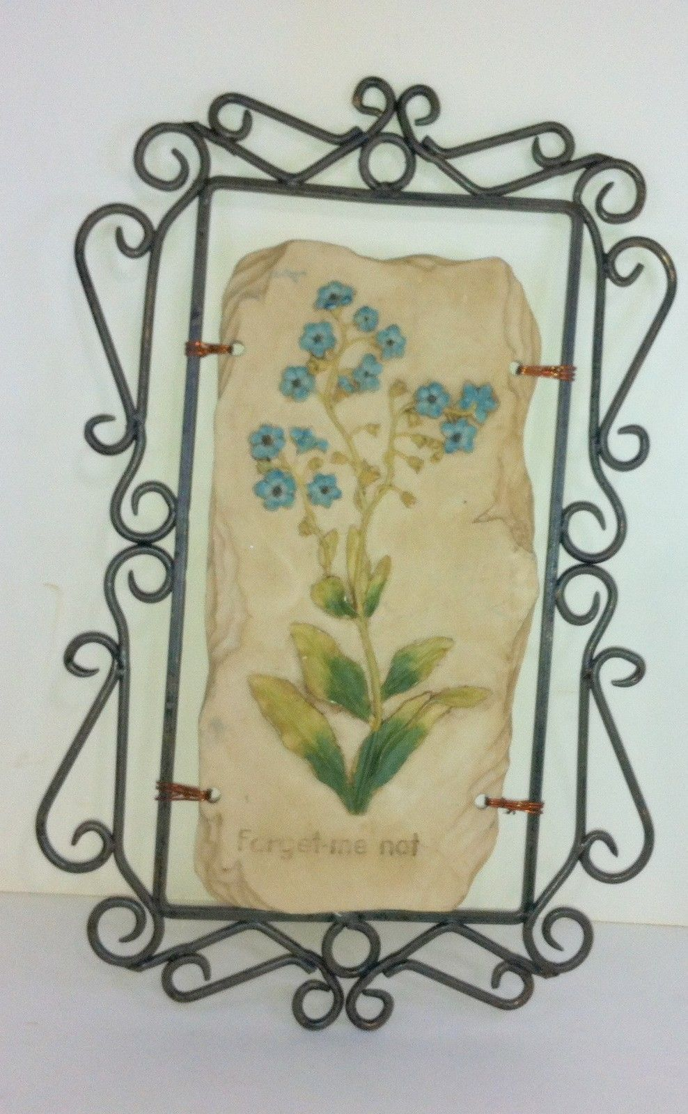Wall decor wall hanging forget me not resin decorative for Deco metal mural