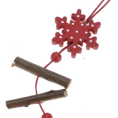 Christmas Tree Ornament Wood Red Snowflake Star Heart Hanging Pendant Xmas Decor