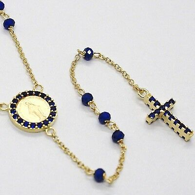 18K YELLOW GOLD ROSARY NECKLACE, FACETED SAPPHIRE ROOT, CROSS & MIRACULOUS MEDAL