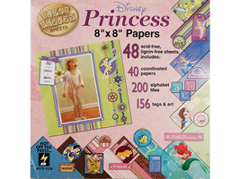 """Hot off the Press Disney Princess 8"""" x 8"""" Papers, 48 Sheets, Alphas, Tags, & Art image 1"""