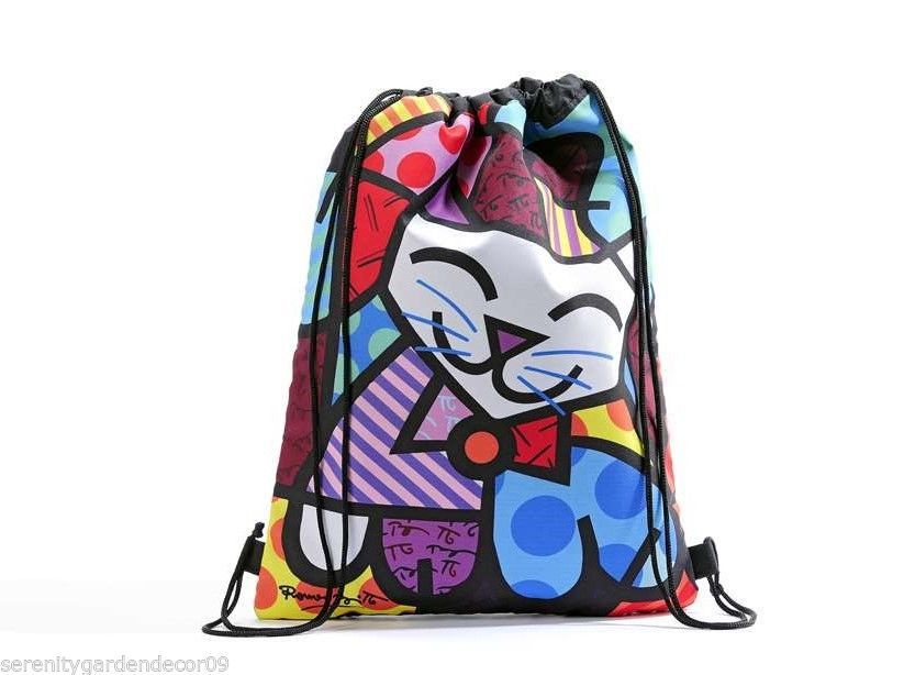 "16.5"" Romero Britto Polyester Drawstring Bag - Happy Cat Design #333359 NEW"