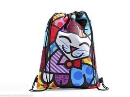 "16.5"" Romero Britto Polyester Drawstring Bag - Happy Cat Design #333359 NEW"
