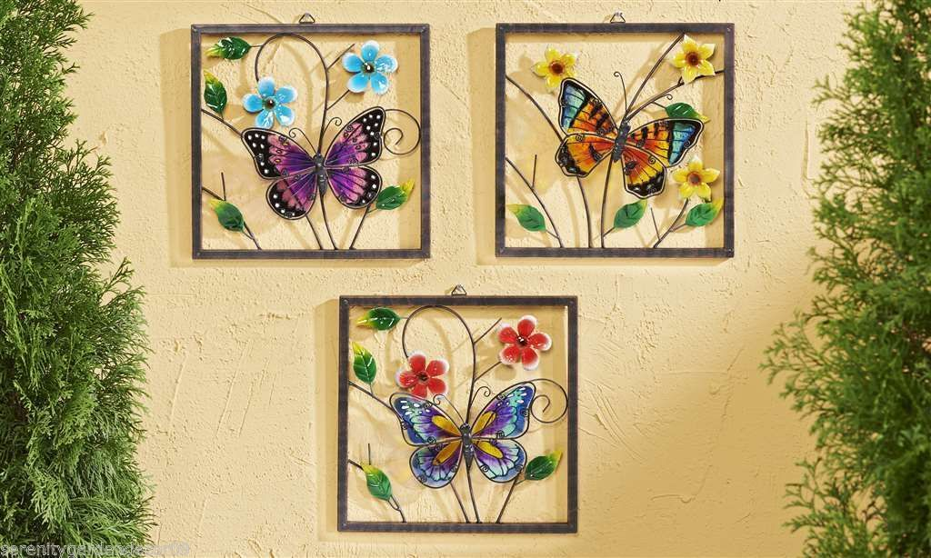"Set of 3 Colorful 12"" sq Butterfly Metal & Painted Glass Hanging Wall Plaques"