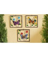"""Set of 3 Colorful 12"""" sq Butterfly Metal & Painted Glass Hanging Wall Pl... - $84.14"""