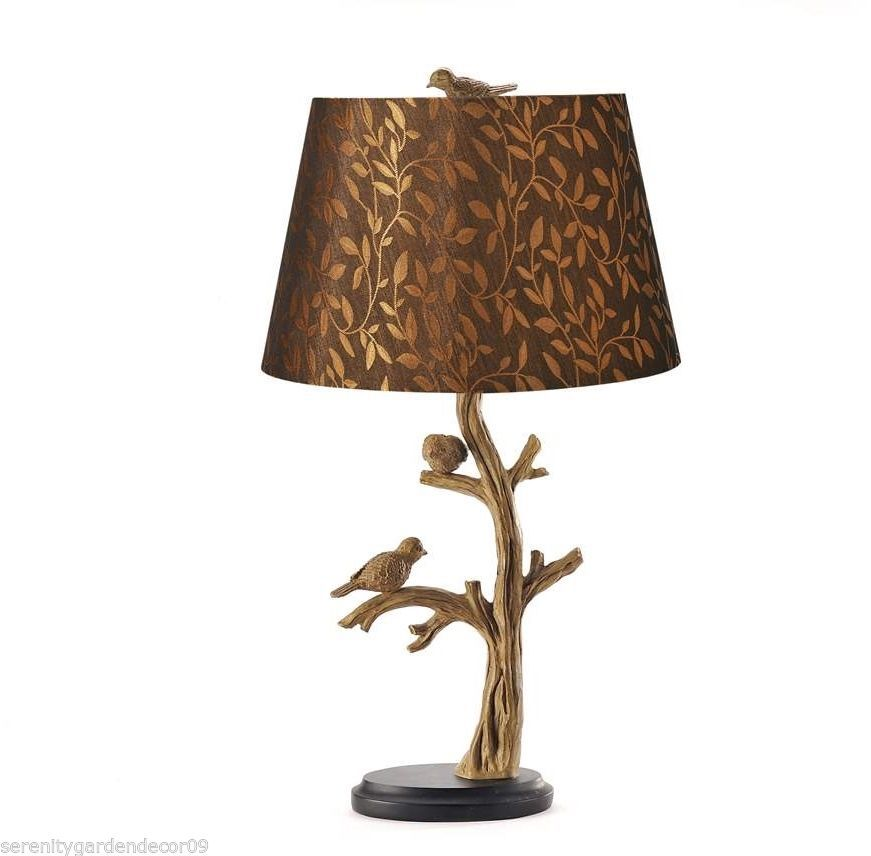 "24""  Bird & Tree Branch Table Lamp w/shade - Antique Silver Polystone NEW"