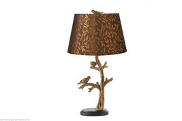 """24""""  Bird & Tree Branch Table Lamp w/shade - Antique Silver Polystone image 2"""