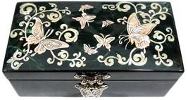 Lack eingelegter Mutter der Perle Schmuck Schmuck Box Schmetterling grün - $42.04