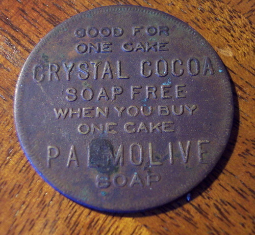 1920s CRYSTAL COCOA PALMOLIVE Soap Free Cake Token