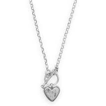 Sterling Silver Rolo Chain Toggle Style Necklace with Heart Pendant - $65.99