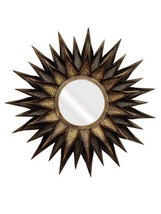 Metal Sun Flower Big Copper/Brown Gold Sun Burst  Wall Deco Craft Mirror... - $412.84