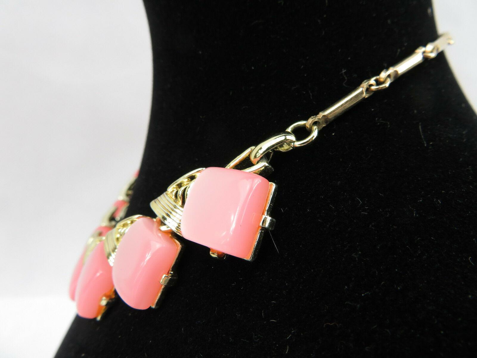 "Vintage Costume Jewelry Necklace Pink Square Lucite Retro Gold Tone Pendant 16"""