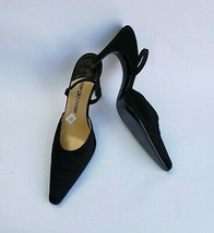 Sergio Rossi Shoes Heels Pumps Black Elastic Strap Fabric Italy US 6.5 E... - $148.45