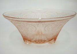 "Hazel Atlas Royal Lace 3-Toed Footed Serving Bowl Pink Depression Glass 10"" - $23.50"