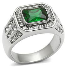 Men's Stainless Steel 2.5 Carat Emerald Synthet... - $26.99