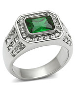 Men's Stainless Steel 2.5 Carat Emerald Synthetic Glass Ring, Size 8-13 - $26.99