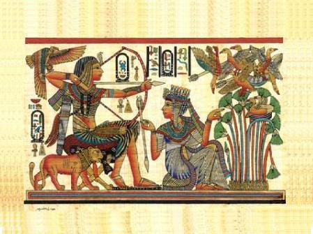 Egyptian pharoah   queen   lion hunting