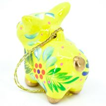 Handcrafted Painted Ceramic Yellow Pig Confetti Ornament Made in Peru image 3