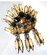 Vintage Juliana Black Gold Rhinestone Dangles Goldtone Brooch  - $30.00