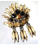 Vintage Juliana Black Gold Rhinestone Dangles Goldtone Brooch  - $30.00