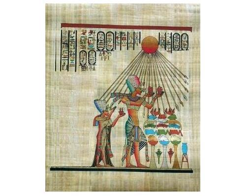 Egyptian pharoah akhenaton and his queen worship sun   smaller