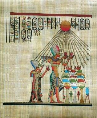 PHARAOH & QUEEN WORSHIP ATON Fine Art Egyptian Papyrus