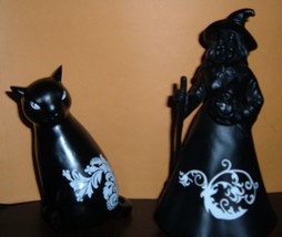 Black cat and Witch Wooden Figurines-New! - $20.00