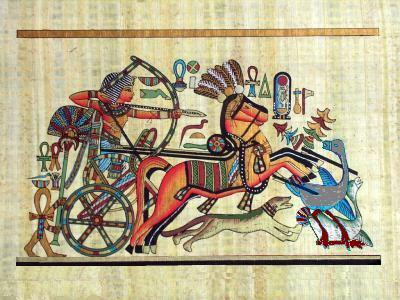 PHARAOH & CHARIOT HUNTING Fine Art Egyptian Papyrus