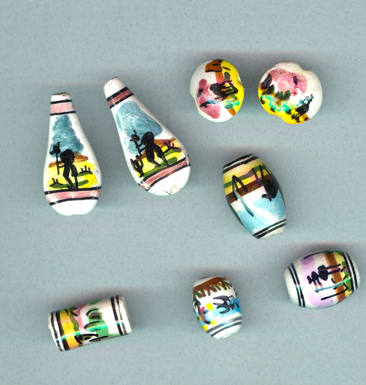 8 pcs. Handpainted Peruvian Beads #9-3Sc13, Free Ship