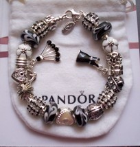Authentic Pandora Sterling Silver Bracelet with Black & white Murano & C... - $98.18