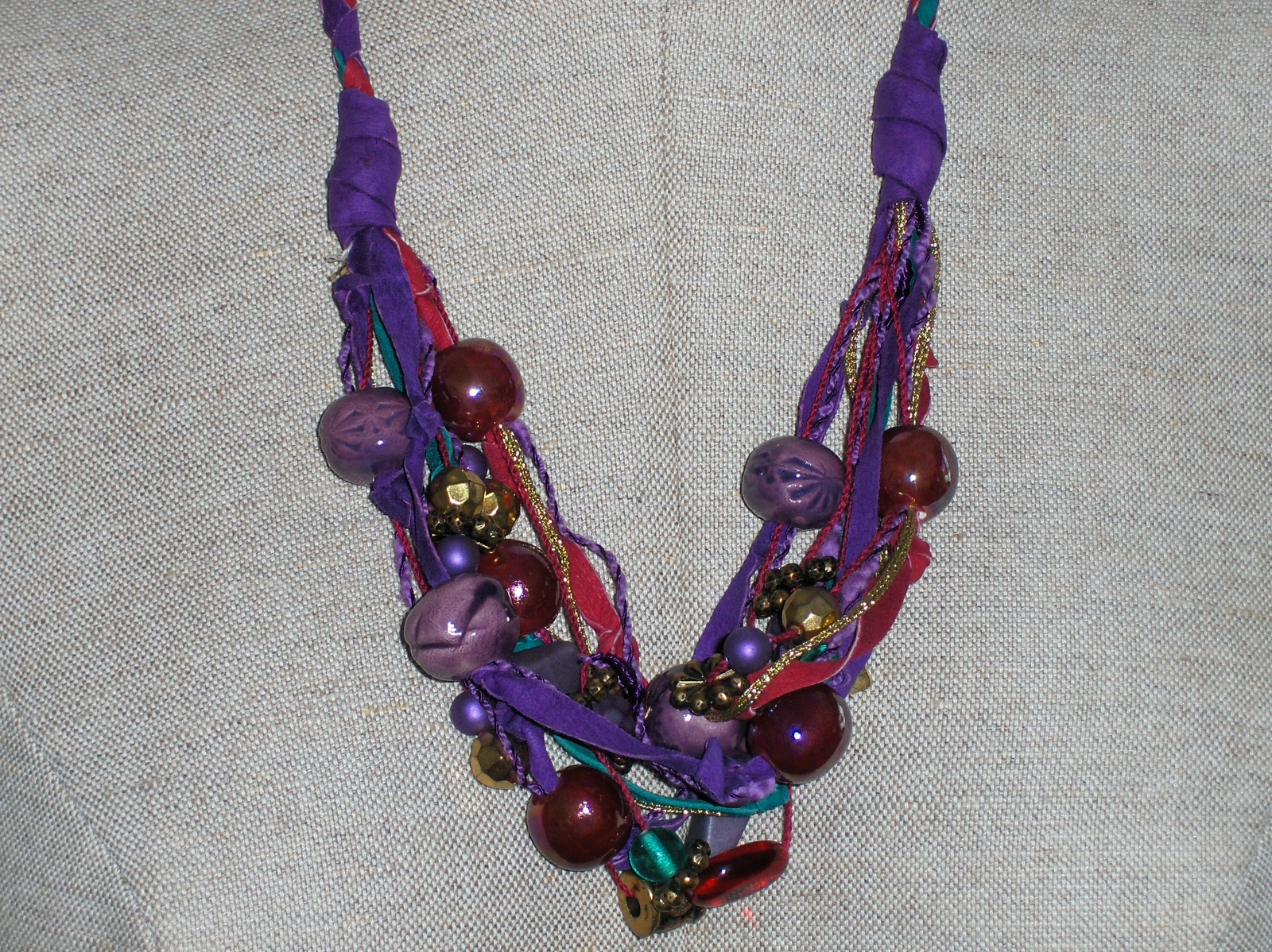 Vintage Lonnie Lovness Leather and Bead Necklace