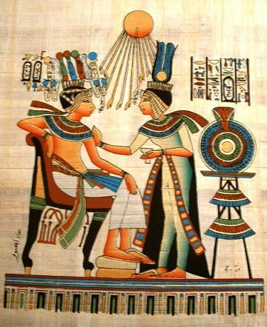 PHARAOH QUEEN SUN GOD Fine Art Egyptian Papyrus