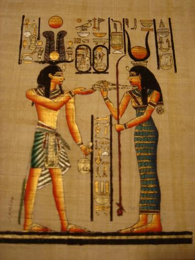 PHARAOH GODDESS HATHOR Fine Art Egyptian Papyrus