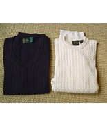 2 BOBBY JONES Sweaters CAble Knit VEST & Crew PULLOVER Long Sleeve XL NEW - $59.00