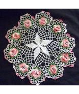 Pretty Vintage Raised Roses Doily  With Star Center   - $7.99