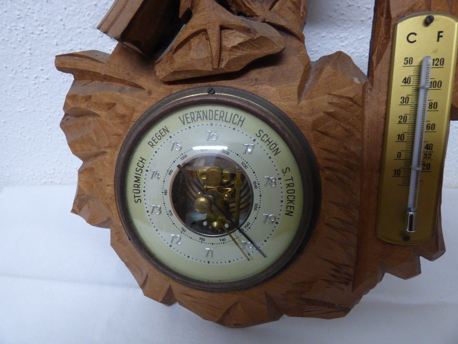 Antique German Black Forest barometer thermometer wood carved Eagle mid century