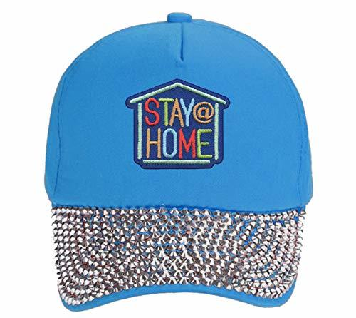 Stay At Home Hat - Adjustable Light Blue Rhinestone Womens Cap Coronavirus Aware