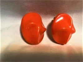 Vintage Orange Bakelite/Plastic Clip-On Earrings - $37.00
