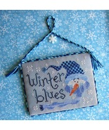 Winter Blues Freebie with fabric + floss bundle (9 skeins) Stitchy Kitty  - $26.80
