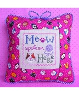 Meow Spoken Here Freebie with fabric + floss bundle (10 skeins) Stitchy ... - $24.80