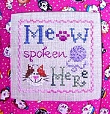 Meow Spoken Here Freebie with floss bundle (9 skeins) Stitchy Kitty