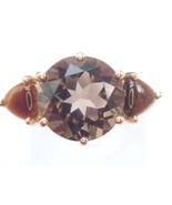 9ct Gold Smoky Quartz and Tiger Eye Ring Size P1/2- 2.99gms #45 - $119.00