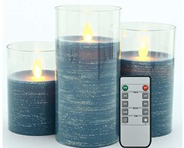 Iovin Glass Flameless Moving Wick Candle, Battery Driven LED Candle, 10 ... - $42.39