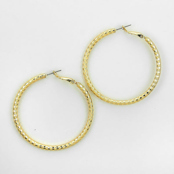 Earrings - Gold Plated Textured Hoop Earrings - 248142