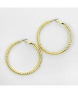 Earrings - Gold Plated Textured Hoop Earrings - 248142 - $11.50