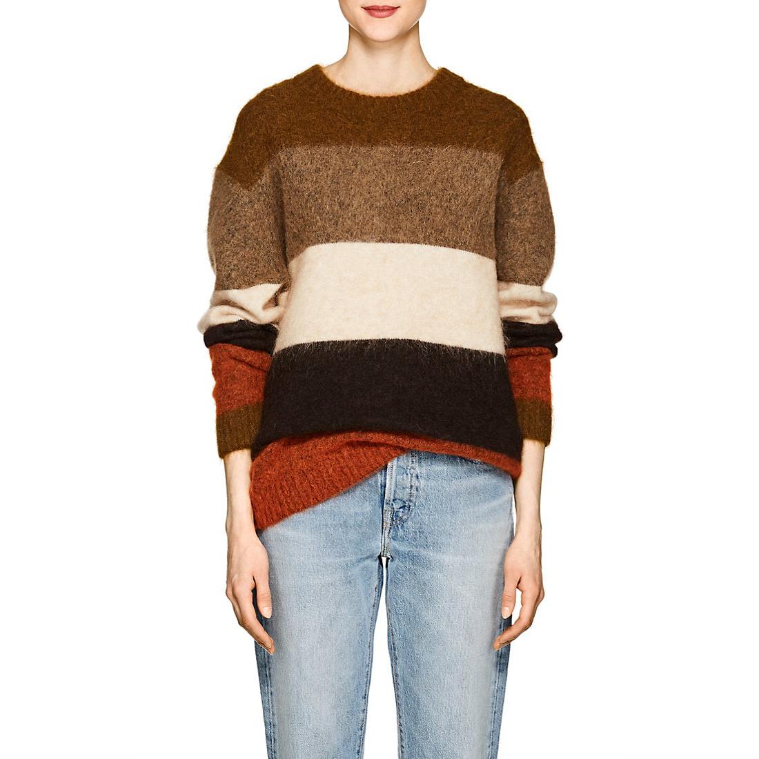 Acne studios albah brown mulit mohair blend striped sweater 1
