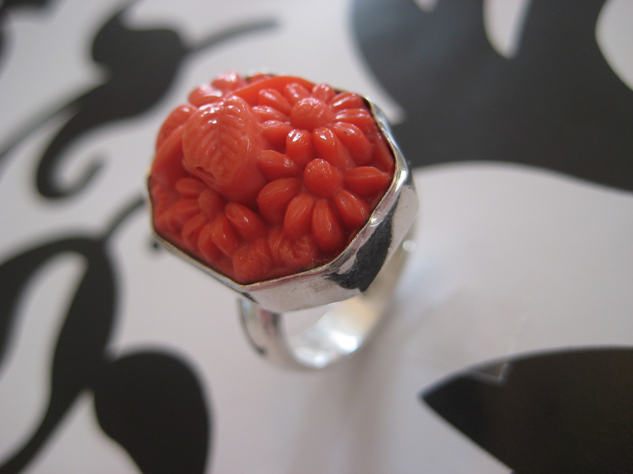 Cocktail Sterling Silver .925 Coral Resin Ring